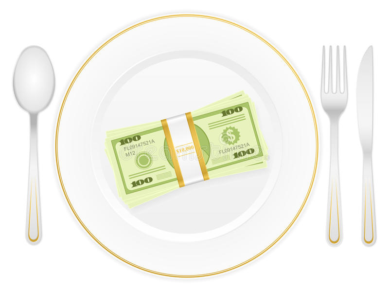 Plate and dollar pack royalty free illustration