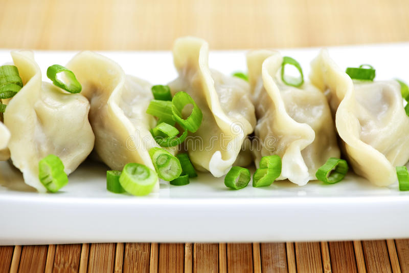 Plate of dumplings stock images
