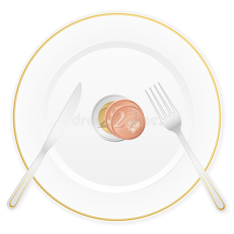 Download Plate and euro coin stock vector. Illustration of dish - 22762992
