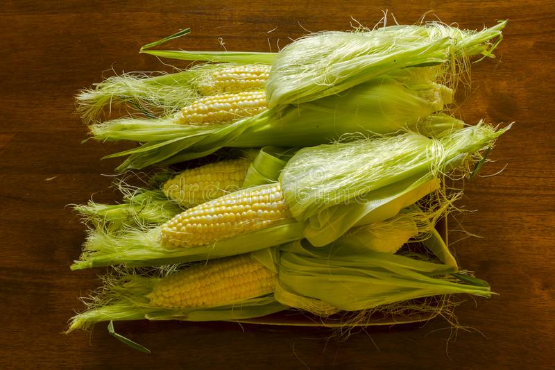 A plate filled of corn on a cob stock photos