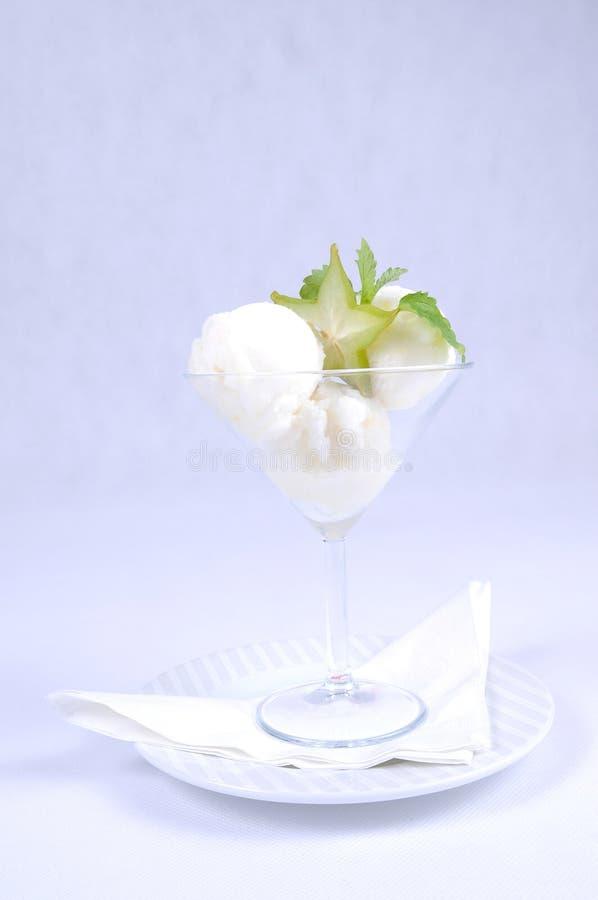 Plate of fine dessert - lemon sorbet royalty free stock photos
