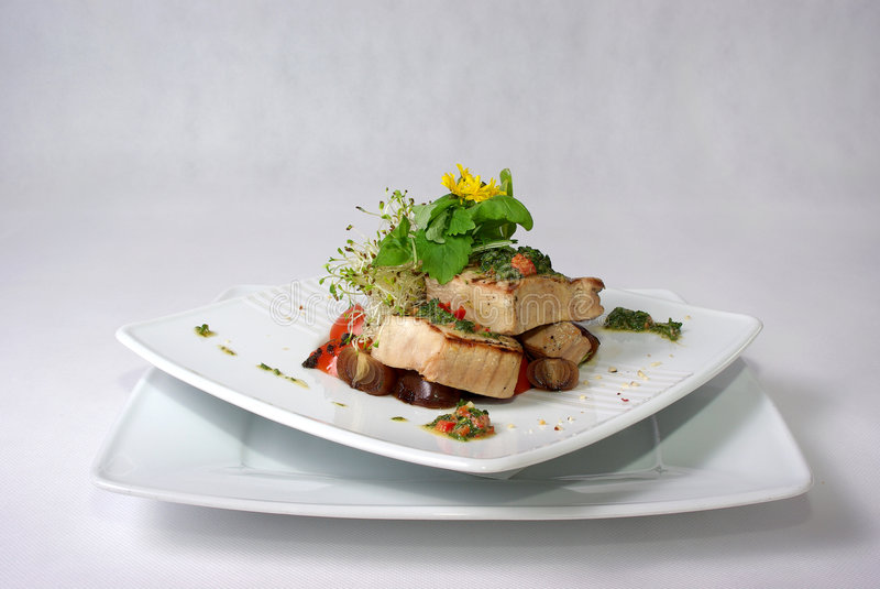 Plate of fine dining meal royalty free stock photography