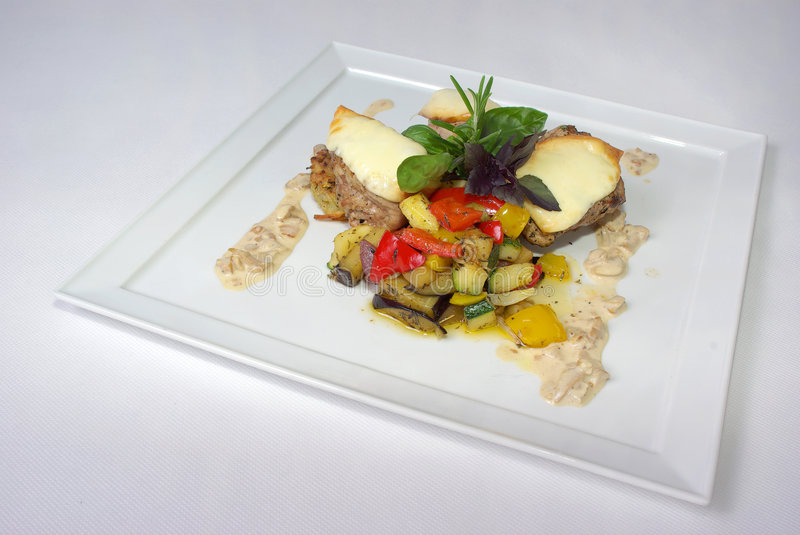Plate Of Fine Dining Meal Royalty Free Stock Images