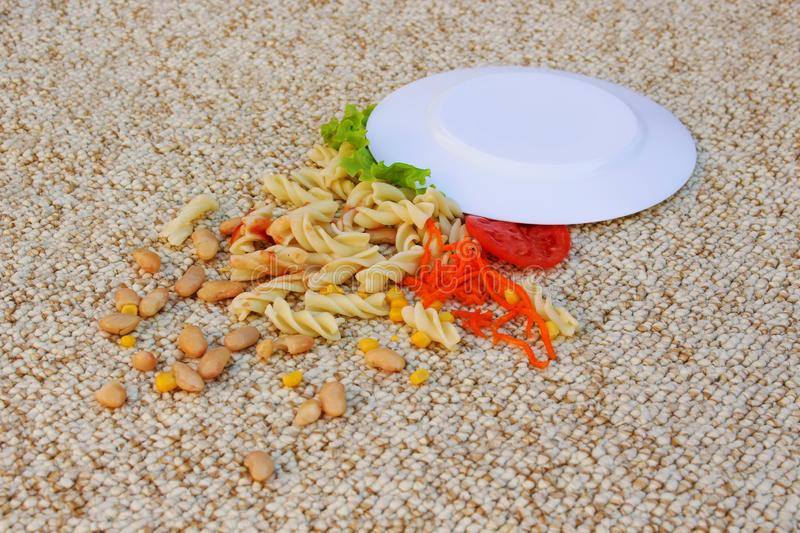 Plate of food fell on beige carpet. Plate of food fell on a beige carpet stock image