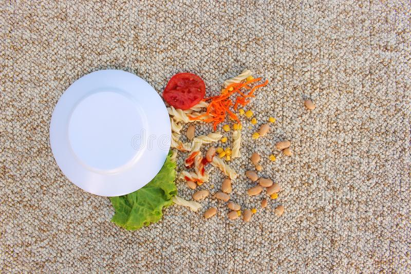 Plate of food fell on carpet. stock images