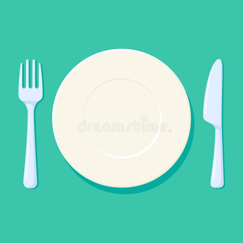Free Plate, Fork And Knife Vector Illustration. Place Setting With Cutlery. Empty And Clean Kitchen Acessories Stock Photo - 105005040