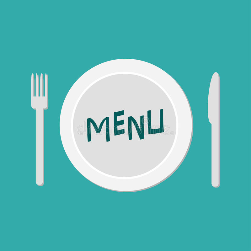 Plate with fork, knife and chefs hat. Restaurant food dish. Menu card. Flat material design style. Green background. Vector illustration stock illustration