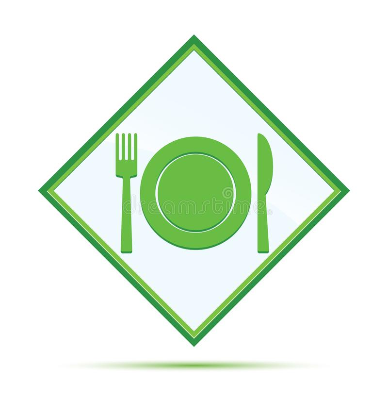 Plate with fork and knife icon modern abstract green diamond button royalty free illustration