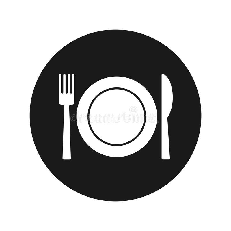 Plate with fork and knife icon flat black round button vector illustration royalty free illustration