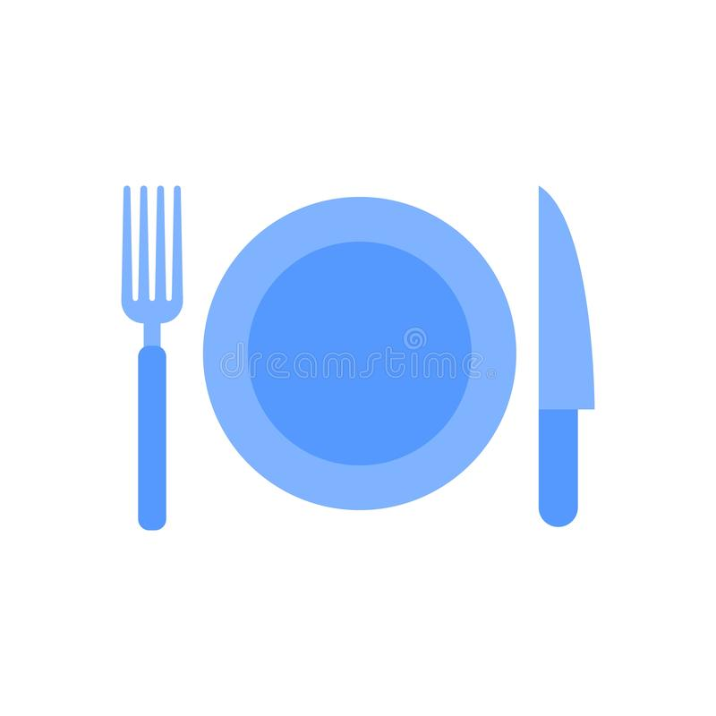 Plate fork and knife icon. Vector illustration in flat minimalist style stock illustration