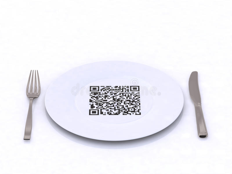 Plate with fork, knife and QR code royalty free illustration