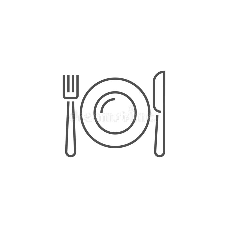 Plate, Fork and Knife Related Vector Line Icon. Plate, Fork and Knife Icon. Plate, Fork and Knife Related Vector Line Icon. Isolated on White Background stock illustration