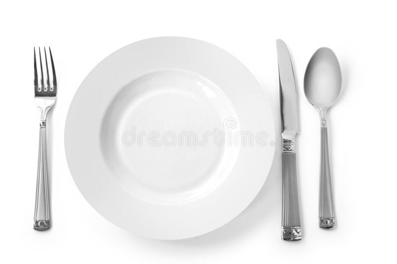 Download Plate With Fork, Knife And Spoon Stock Image - Image: 10140049