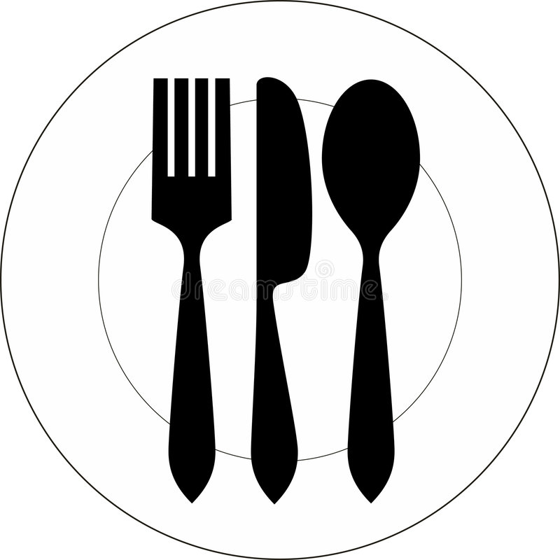 Plate, fork, knife and spoon stock illustration