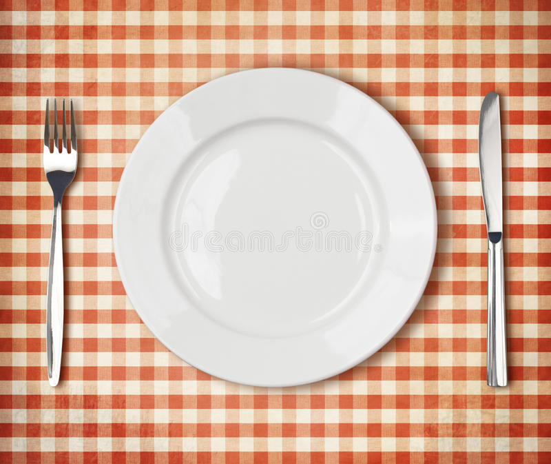 Download Plate, Fork, Knife Top View Over Old Tablecloth Stock Photo - Image of flatware, kitchen: 39002668