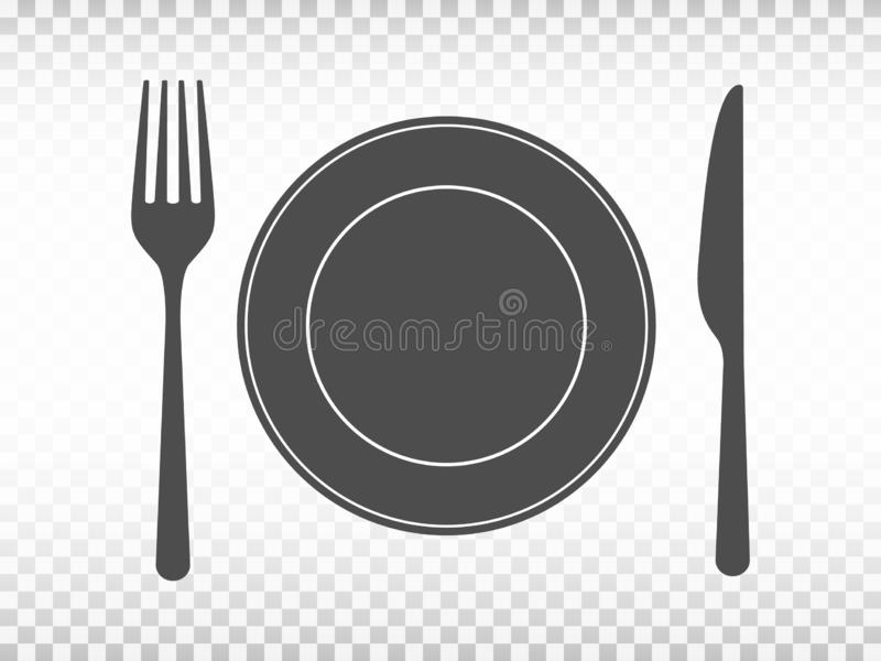 Plate with fork and knife on transparent background. Lunch concept in flat design. Restaurant icons. Tableware set on stock illustration