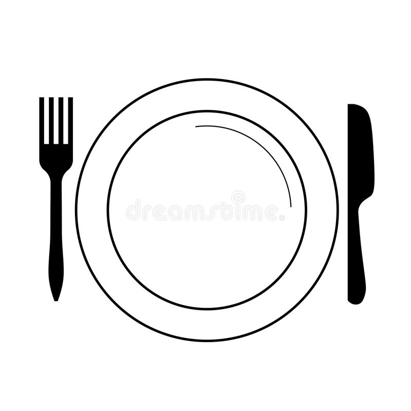 Plate with fork, knife (vector) stock illustration