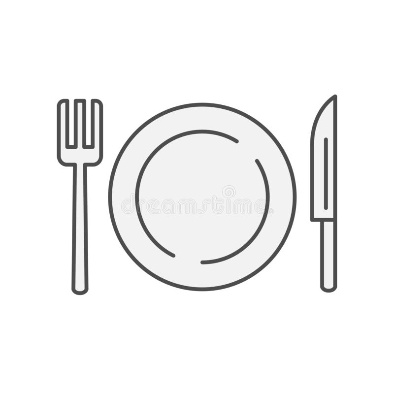 Plate with fork and knife western restaurant icon. Kitchen appliances for cooking Illustration. Simple thin line style symbol. Eps 10 royalty free illustration