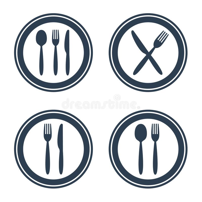 Plate fork spoon and knife icons on white background. stock illustration