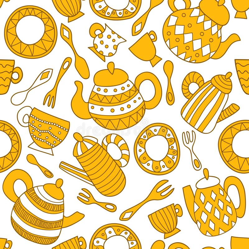 Plate, fork, spoon, teapot and cup. Seamless pattern. Seamless vector pattern with kitchenware. Plate, fork, spoon, teapot and cup with different geometric royalty free illustration