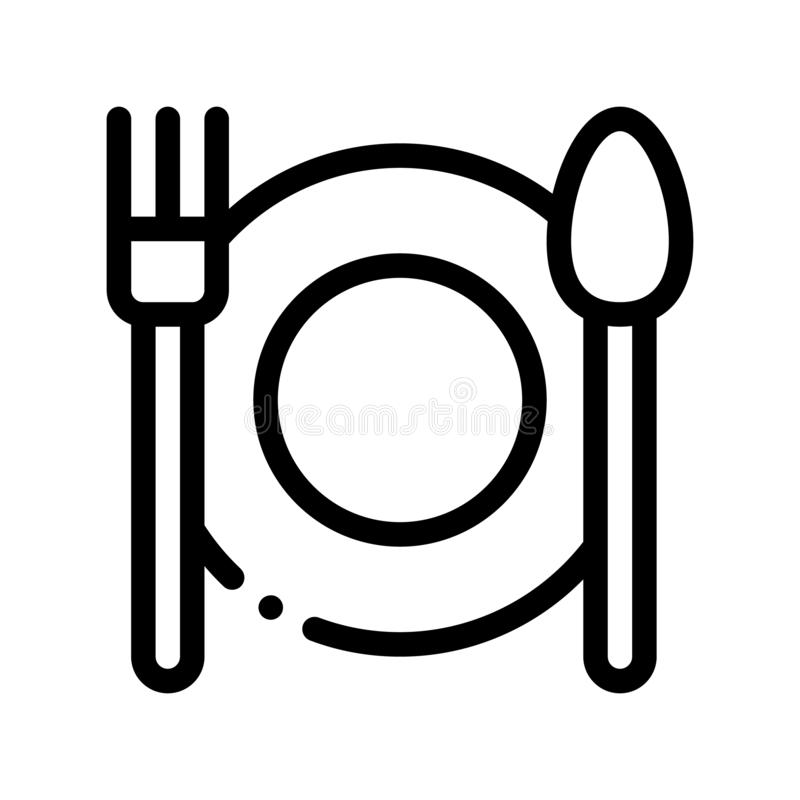 Plate Fork And Spoon Vector Sign Thin Line Icon. Plate With Flatware Restaurant Mark, Hotel Performance Of Service Equipment Linear Pictogram. Business Hostel royalty free illustration