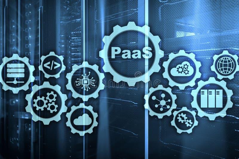 Plate-forme comme service PaaS - opacifiez le concept de calcul de services Fond de pièce de serveur illustration de vecteur