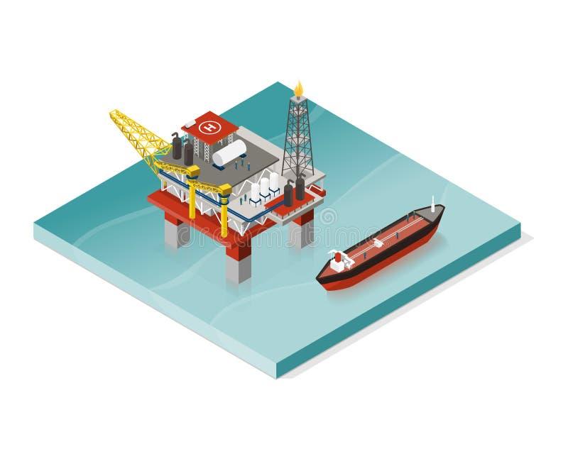 Plate-forme d'extraction de l'huile et pétrolier illustration libre de droits