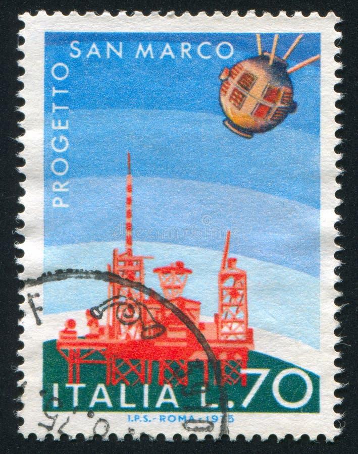 Plate-forme de lancement de satellite et de San Rita photos libres de droits