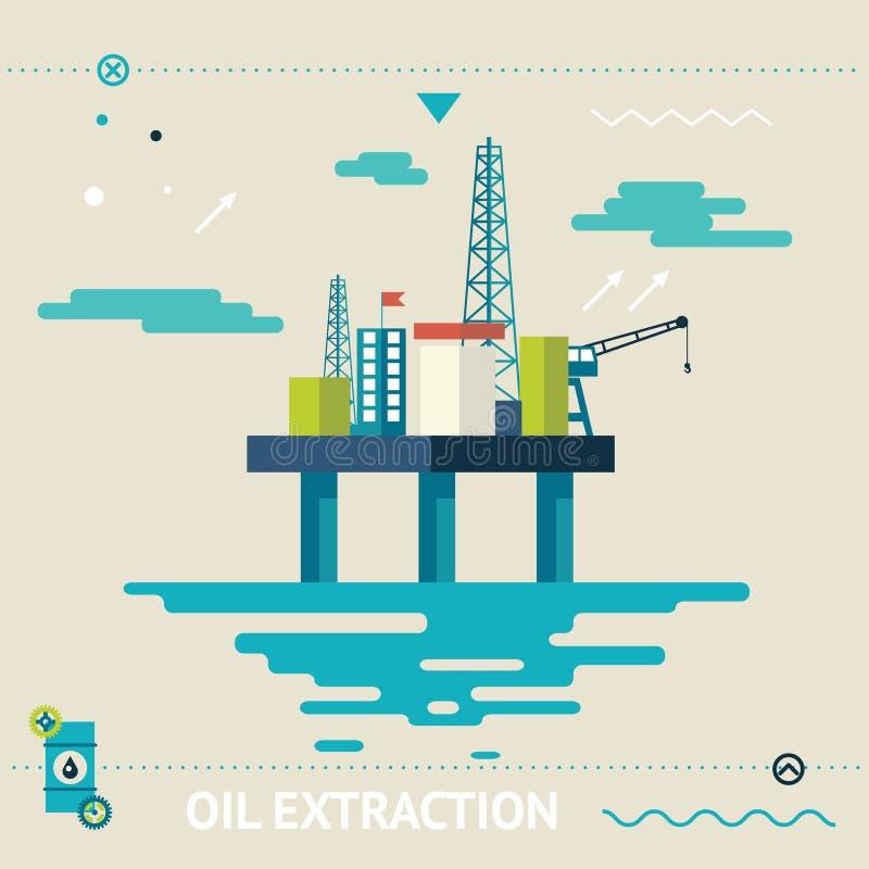 Plate-forme en mer familièrement Rig Symbol d'huile illustration stock