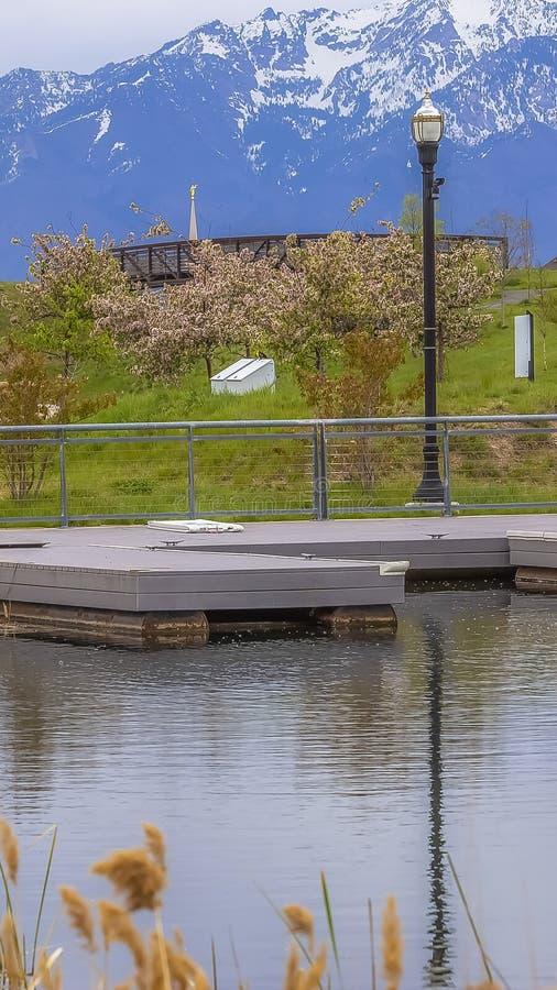 Plate-forme grande verticale de cadre sur un lac argenté brillant avec les arbres luxuriants et courrier de lampe sur le rivage h photo libre de droits