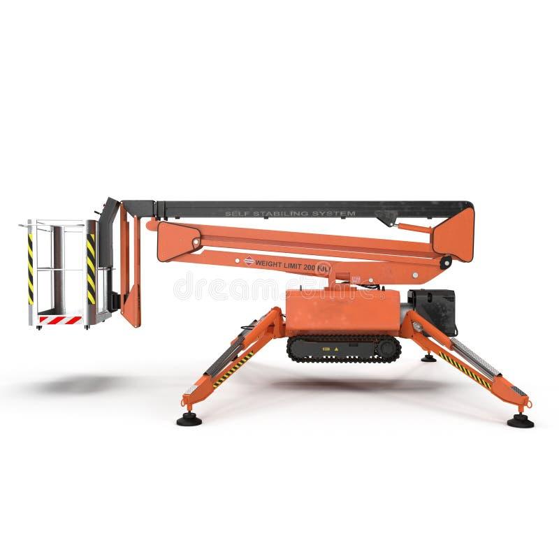 Plate-forme mobile de travail aérien - ascenseur autopropulsé hydraulique de ciseaux oranges sur un blanc Vue de côté illustratio illustration de vecteur