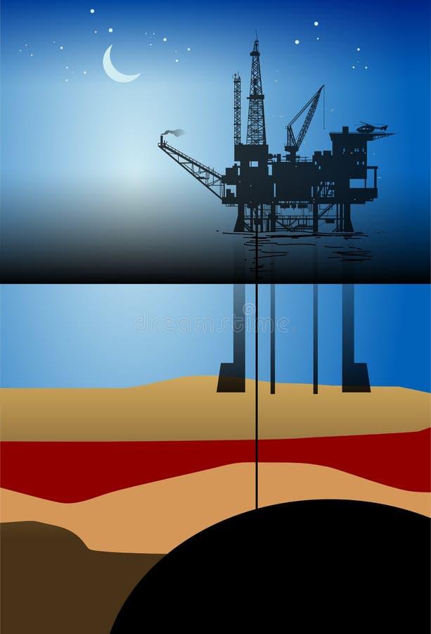 Plate-forme pétrolière Drillin illustration libre de droits