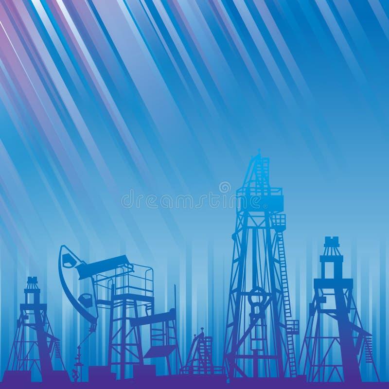 Plate-forme pétrolière et pompe au-dessus des rayons lumineux bleus. illustration stock