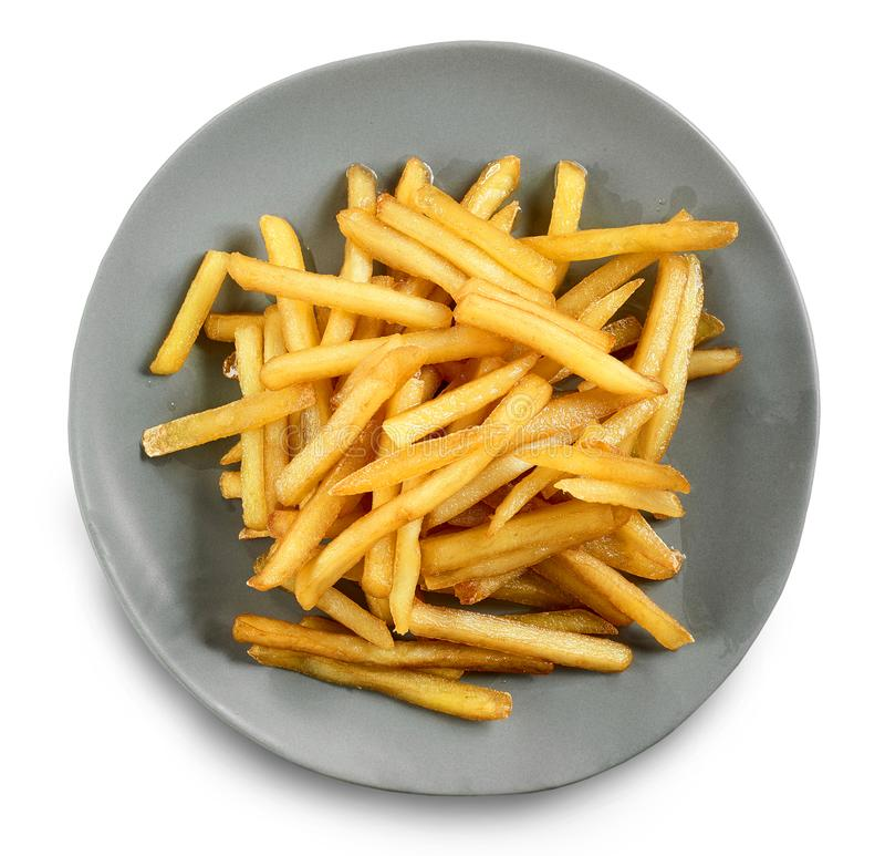 Plate of french fries stock photo