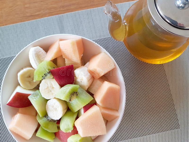 A bowl with fresh fruits - healthy nutrition concept stock photos