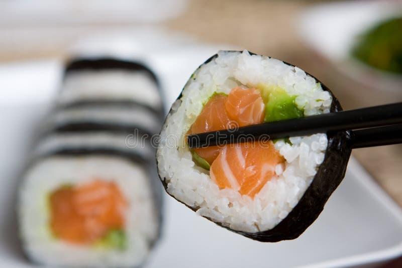 Plate of fresh salmon japanese sushi stock image