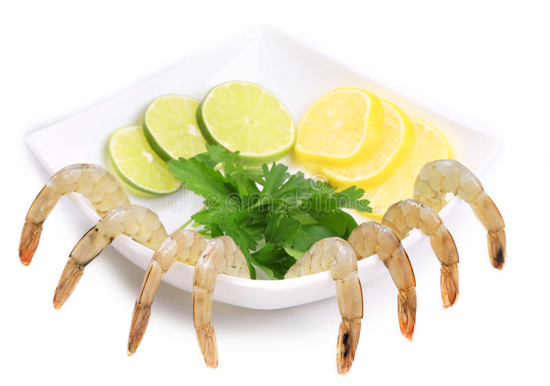 Plate With Fresh Shrimps And Green Parsley. Stock Photos