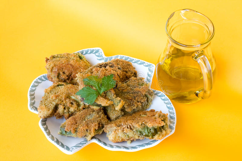 Plate With Fried Artichokes stock photography