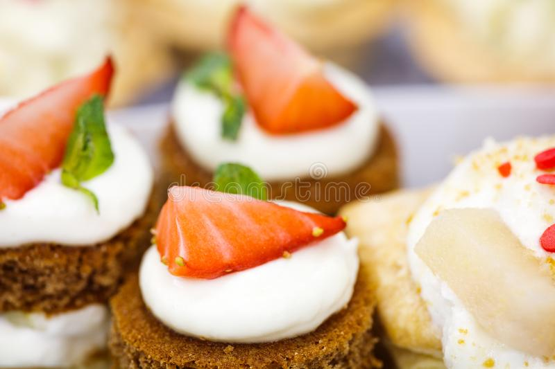 Plate of fruit sweet canape dessert royalty free stock photo