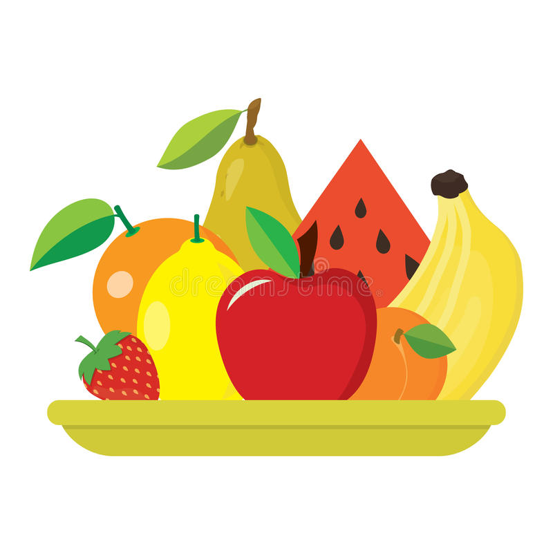 Plate with fruits royalty free illustration