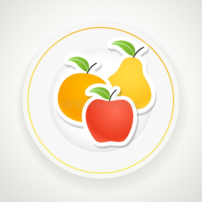 Download Plate with fruits stock vector. Illustration of icon - 33013321