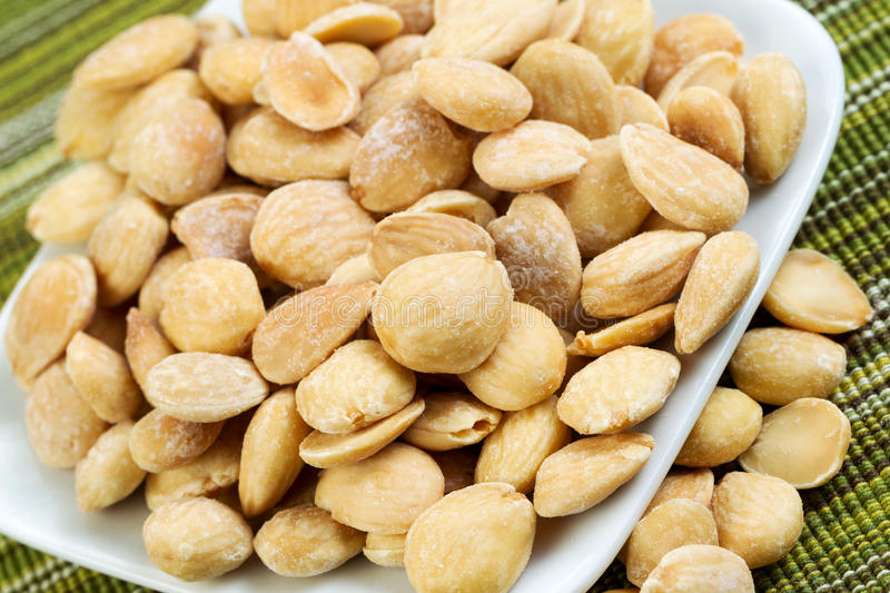 Download Plate Full of Almonds stock photo. Image of heap, vegetarian - 34435504