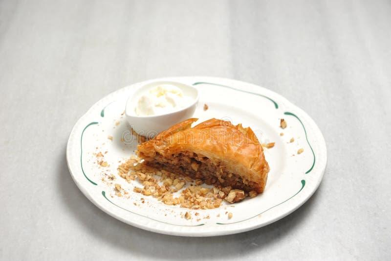 Plate with greek baklava stock photo