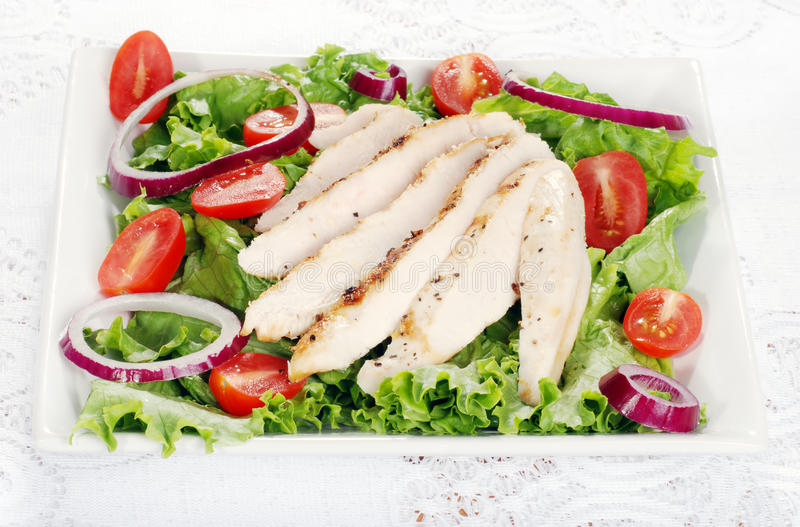 Plate of grilled chicken salad royalty free stock photography
