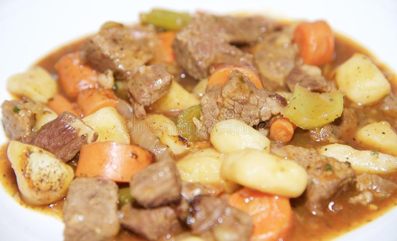 Plate of Hot Beef Stew royalty free stock photos