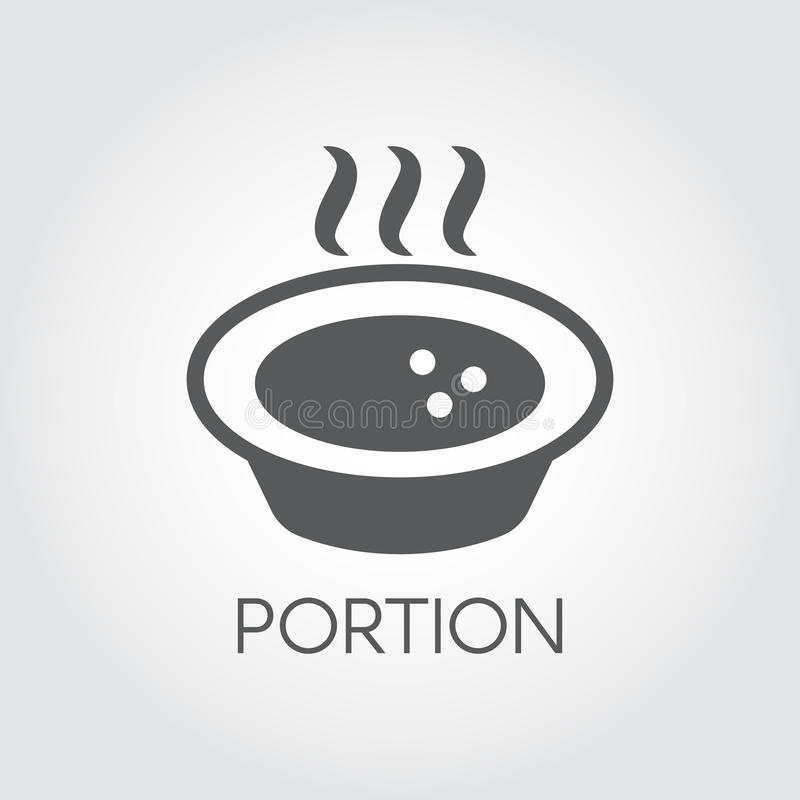 Plate with hot food and steaming. Portion of soup or other dishes. Flat icon for recipes, culinary books and other royalty free illustration