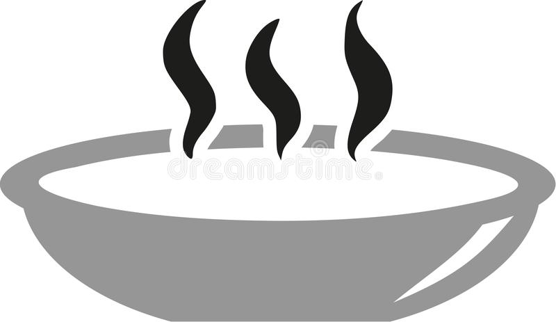 Plate with hot soup stock illustration