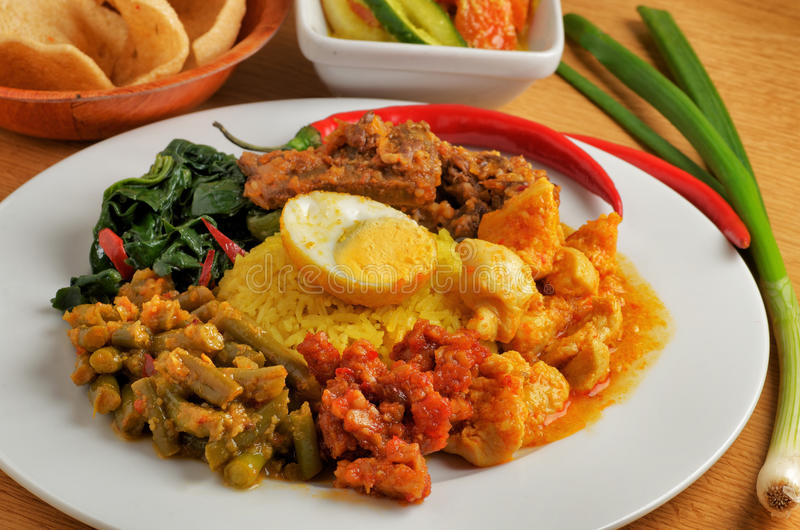 Plate of indonesian food. Close-up of indonesian food with rice stock image