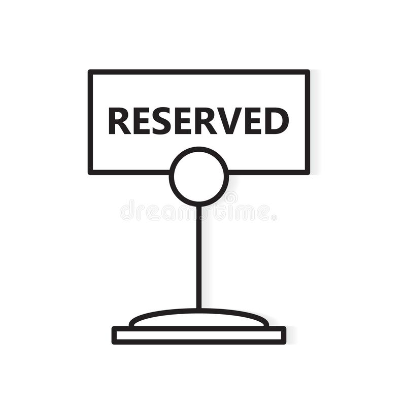Plate with the inscription reserved. Vector illustration stock illustration
