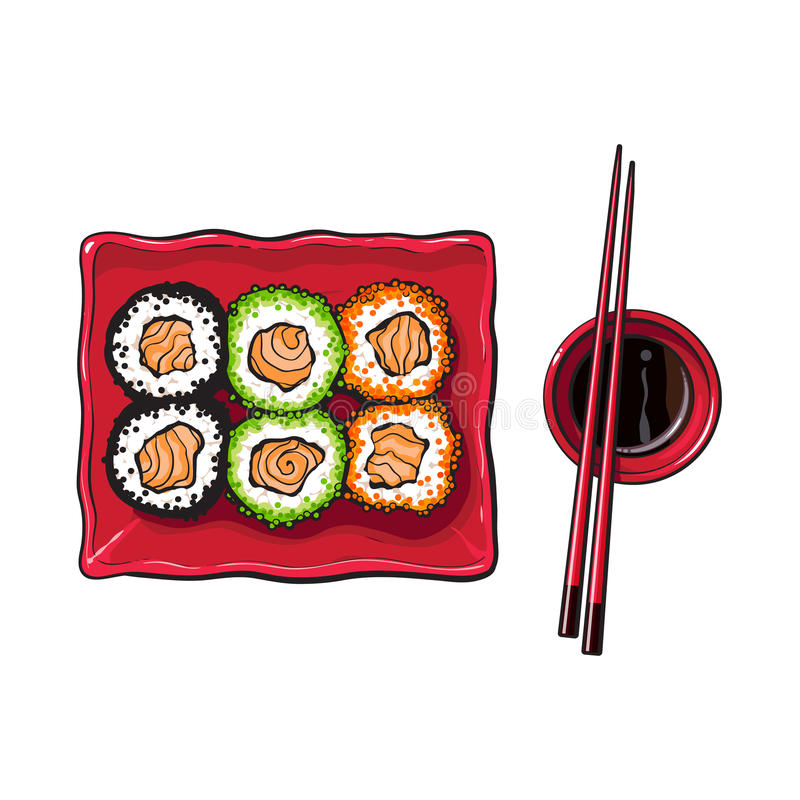 Plate of Japanese sushi, rolls, chosticks and soy sauce bowl. Top view hand drawn, sketch style vector illustration isolated on white background. Sushi serving royalty free illustration
